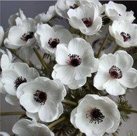 Flores de boda Táctil Real Toque Blanco Anémonas Flores PU Anemonas artificiales para la mesa de ramo Centros de centro PU Flowers