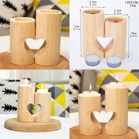 Soporte de vela de corazón dulce de madera Decoración de la boda de los tenedores de mesa Lámpara de té cuadrada creativa velas 63 p2