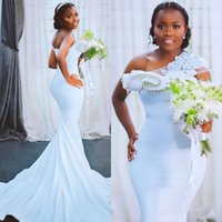 Elegant Robe De Marriage Mermaid Wedding Dresses Plus Size Arabic Aso Ebi Crystals Lace One Shoulder Sweep Train Garden Country Bridal Party Gowns