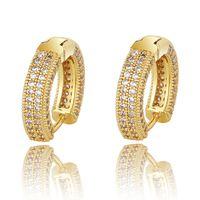 Designer di lusso 18 carati in oro placcato oro zircone orecchini uomo donne hip hop gioielli ghiacciato per borchie orecchini bling diamante orecchino