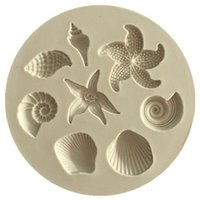 Ferramentas de bolo Decoração DIY Sea Criaturas Conch Starfish Shell Fondant Doces Silicone Molds Criativo Chocolate Mold1