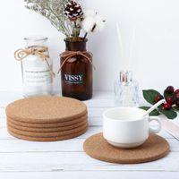 Doğal Kahve Fincanı Mat Yuvarlak Ahşap Isıya Dayanıklı Mantar Coaster Mat Çay İçecek Pad Masa Dekor Toptan PPD3566