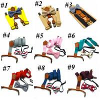 Bambini regolabili reticoltura Bretelle per bambini Plaid Papillon Fashion Braces Bambini CLIP CLIP con farfallino Cravatta 12 Colori Cinture RRA2802