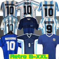 Rétro 1986 Argentine Soccer Jersey Messi Maradona Canégigia 1978 1996 Chemise de football Batistuta 1998 Riquelme 2006 1994 Ortega Crespo 2014