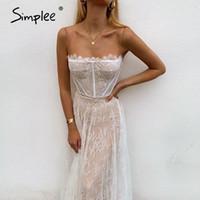Simple Sexy Branco Laço Verão Mulheres Maxi Vestidos Praia Spaghetti Strap Backless Plus Tamanho Vestido Mesh Femme Vestido Longo Vestidos1