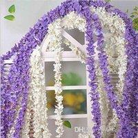 """90"""" (230cm) Super Long fleurs de soie artificielle Hydrangea Wisteria Garland Pour jardin Maison Décoration de mariage Fournitures 6 Couleurs"""
