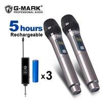 Microfoni G-Mark X220U UHF Microfono wireless Registrazione Karaoke Palmare a 2 canali Batteria al litio a 2 canali 50m Ricezione distanza1