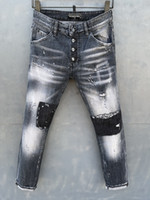 DSQ Phantom Turtle Classic Fashion Homme Jeans Hip Hop Rock Moto Mens Décontracté Design Décontracté Jeans Détresse Skinny Denim Biker DSQ Jeans 1042