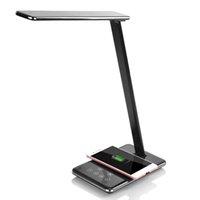 モダンなLEDデスクライトテーブルランプ折りたたみアイシングルフレンドリーな4つの明るい色の温度ブックライトワイヤレスデスクトップチャージャーUSBの充電