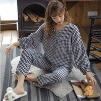 Sonbahar Yeni Kadın Pijama, Ekose Uzun kollu Pantolon Takım Elbise, Yuvarlak Boyun Interwoven Pamuk İpek, İnce Büyük Boy Ev Hizmeti