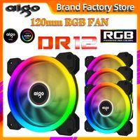 AIGO NEUER DR12 Computer PC-Gehäuse-Lüfter RGB-Anpassen der LED-Lüftergeschwindigkeit 120mm Ruher Remote-Aura-Sync-Computerkühler-Kühlung RGB-Hülle Fans1
