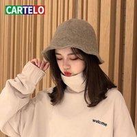 Beanie / Kafatası Kapaklar Cartelo Şapka Kadın Kış Balıkçı Kore Tatlı Yün Örme Yün Yüksek Kalite Moda Vahşi Havzası