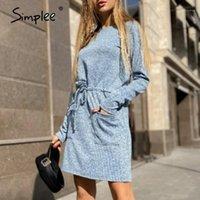 Simplee Casual A-line kadın Elbise Lace Up Cebi O-Boyun Uzun Kollu Elbise Rahat Sonbahar Tatil Ofisi 20201