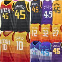 2021 Donovan 45 Mitchell Jersey Rudy 27 Gobert Mike 10 Conley Jersey John 32 Malone 12 Stockton Basketball UtahTrikots