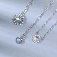 Blue Sterling 925 Silver Moonstone Jóias Fabricante Congelar Snowflake Cat Stars Semi Precioso Colar de Jóias de Pedra