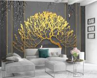 Carta da parati di lusso Albero dorato 3d Wallpaper Soggiorno romantico paesaggio seta decorativo murale 3d Wallpaper