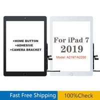 """10.2 """"Pour iPad 7 8 2019 Version A2197 A2200 A2200 A2198 Digitizeur tactile Digitizer avant panneau extérieur en verre avec bouton de la maison et adhésif"""