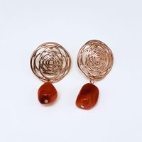 Viennois Natural Stone Drop Earrings Hollow Out Rose Gold Plated Flower Earrings For Women Geometry Fashion Jewelry