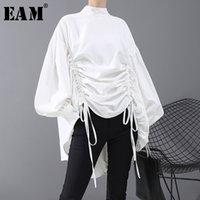 [EAM] Kadınlar Geri Uzun İpli Büyük Boy Bluz Yeni Satnd Yaka Uzun Kollu Gevşek Fit Gömlek Moda İlkbahar Sonbahar 1N242 Y200402