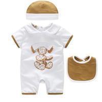 Einzelhandel Baby Strampler Sommer Baby Mädchen Kleidung Cartoon Neugeborenen Baby Tuchesshort-Ärmelt Puppe Kragen Infant Jumpsuits Mädchen Kleidung Set