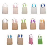 Easter Baskets Rabbit Ear Baskets 2021 Easter Egg Hunts Bags Handbag Kids Candy Bag Bucket Gift Bags Burlap Storage Bags YL1386-2