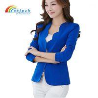 Moda Yeni Blazers Ceketler Kadınlar Için Çalışmak Kraliyet Mavi Blazer Şeker Renk Ince Suit Flouncing Veste Blazer Femme YC0511