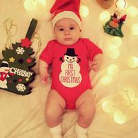9-24m Baby Christmas Kurzarm Schneemann Muster Overall, Printing Strampler mit Hut, Kinderrote Kleidung, R1AA802cs-21