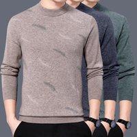 الرجال البلوزات أعلى درجة 100٪ صوف نقي البلوفرات الحياكة الرجل 2021 الشتاء نصف الياقة المدورة الدافئة الذكور عنزة الكشمير متماسكة الملابس