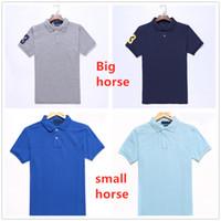 Mens Polo Camicie da ricamo cavallo Etichetta da uomo Polo Hommes Business classico Casual Top TEE PLUS Big Horse Cotton Traspirante taglia S-2XL