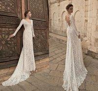 Vestidos de novia de encaje completo bohemio 2021 elegantes mangas largas rústicas en V cuello de campo vestido de novia de la vaina sexy torbes largas sin espalda Al8238