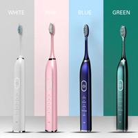 Hot Smart 10 Modi Sonic Elektrische Zahnbürste USB Wiederaufladbare Ultraschallzahnbürste Weißwenkel 5/10 Ersatzkopf Wasserdicht 201125