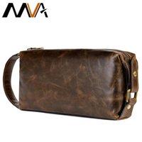 MVA Genuine Leather Men's Cosmetic Bag Male Toiletry Bag Vintage Waterproof Wash Bags Men's Make Up Bags Travel Organizer 7450