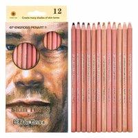 12 цветных мягких пастельных карандашей профессиональный оттенок кожи пастельные цветные карандаши для рисования школа Lapice de colore канцелярские товары 201102