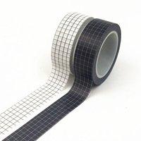 10m Noir et blanc Grid Washi Ruban Japonais Papier Japonais Planificateur de bricolage Ruban de masquage Ruban adhésif Stickers Stickers Papeterie Décoratif Tapots 2016