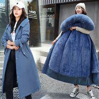 Fitaylor Новая зимняя длинное пальто женщины теплые толщины с капюшоном Parkas плюс размер большой меховой воротник вышивка куртки мягкие пальто Y201012