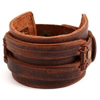 Браслеты очарования ручной работы коричневые винтажные Бракл мужские широкие кожаные обертывающие манжеты браслеты браслет браслет ретро мужчина - ювелирные изделия оптом1