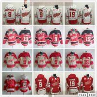 Detroit Red Wings Hóquei Hoodie Jerseys 9 Gordie Howe 19 Steve Yzerman 8 Justin Abdelkader Reverse Retro Hoodies Jersey Red White Costura