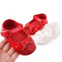 Zapatos de bebé primavera suave suela niña pu primer caminantes moda bebé niñas zapatos mariposa-nudo primer sole suela zapatos