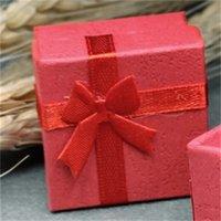 4x4cm Caja de anillo de joyería pequeña Pequeño Estuche de la presente Decoración de Bowknot Organizador Primer ornamento Embalaje Cajas Collar Portátil 0 35MW B2