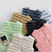 Toddler Kids Down Vest 2021 Winter New Baby Girls Solid Ligh...