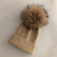 Шапочки / черепные колпачки повседневные зимние шляпы реальный мех норки помпом шляпы для женщин детские весенние шерсть теплые чекуляные шапочки женские1