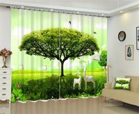 Green tree Curtains Luxury Blackout 3D Window Curtain living room Bedroom decorate Cortina Drapes Rideaux Customized pillowcase