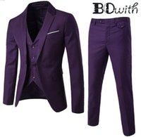 남성용 정장 블레이저스 est 도매 보라색 사용자 정의 만든 노치 칼라 슬림 맞는 웨딩 턱시도 공식 suits에 대 한 3 조각 재킷