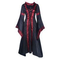 Casual Dresses Frauen Vintage Maxi Wench Langarm Cape Collar Prom Cosplay Halloween Kostüm Mittelalterliche Hexe Renaissance Viktorianisches Kleid