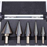 5 adet Adım Koni Matkap Seti Matkap Uçları Metal Alet Kutusu Delik Kesiciler Güç Koni HSS Yüksek Hızlı Çelik MU WMTMHV HOMES2007