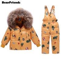 2020 Winter Overalls für Mädchen Kleidung Kinder Schneeanzug Baby Jungen Muster Jumpsuit Mantel Daunen Jacken Kleinkind Wasserdichte Kleidung Set Y1117