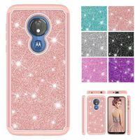 2 en 1 Funda híbrida de Bling Glitter de doble capa para Motorola Moto G8 Power E6 Play G7 Z4 E5 más cubierta a prueba de golpes