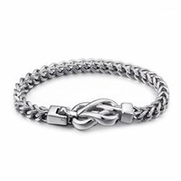 Bağlantı, Zincir Çin Infinity Düğüm Charm Bilezikler Erkekler için 21.5 cm Paslanmaz Çelik Bağlantı Bilek Bilezik Takı Aksesuar1