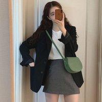 Goohojio 2021 nouveau tempérament à manches longs tempérament vintage manteaux femmes automne blazer femmes vestes couleur solide couleur surdimensionné dames blazers