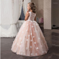 Fancy Flower Long Prom Gowns Teenagers Dresses for Girl Chil...